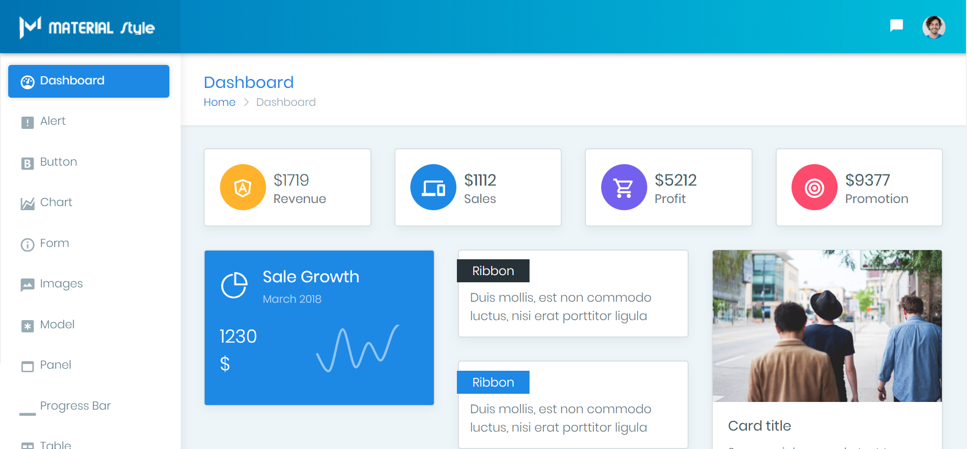 material style Bootstrap 4 Admin Theme